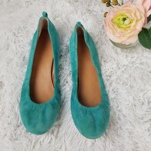 J. Crew Anya Ballet Flats Turquoise Suede Sz 8